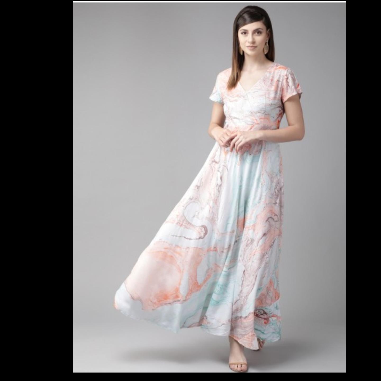 Sea Green & Coral Pink Printed Maxi Dress
