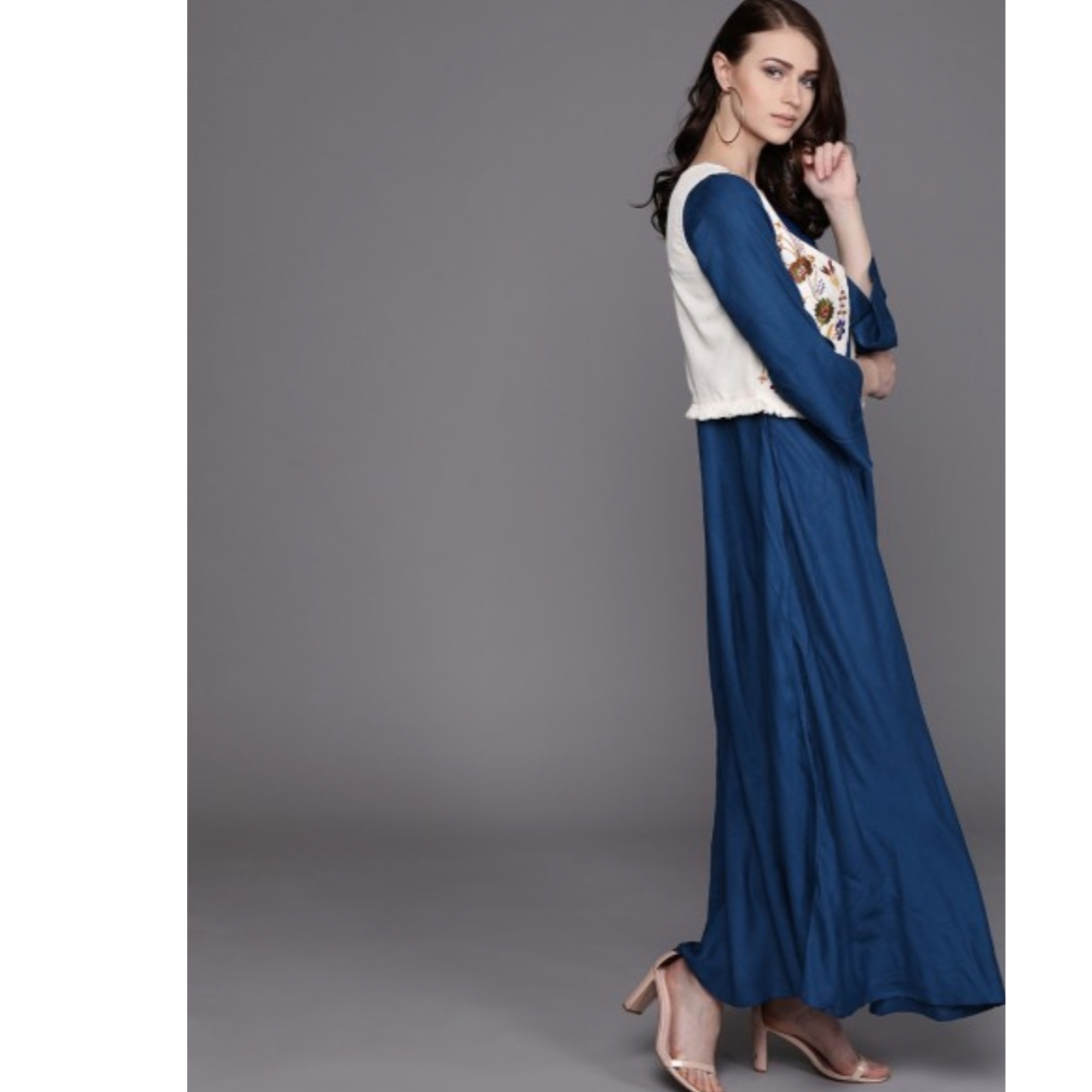 Blue Solid Maxi Dress With Jacket