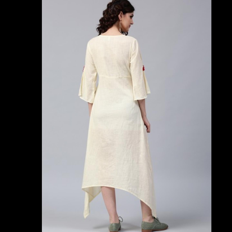 Pastel Cream Floral Patchwork A- Line Dress
