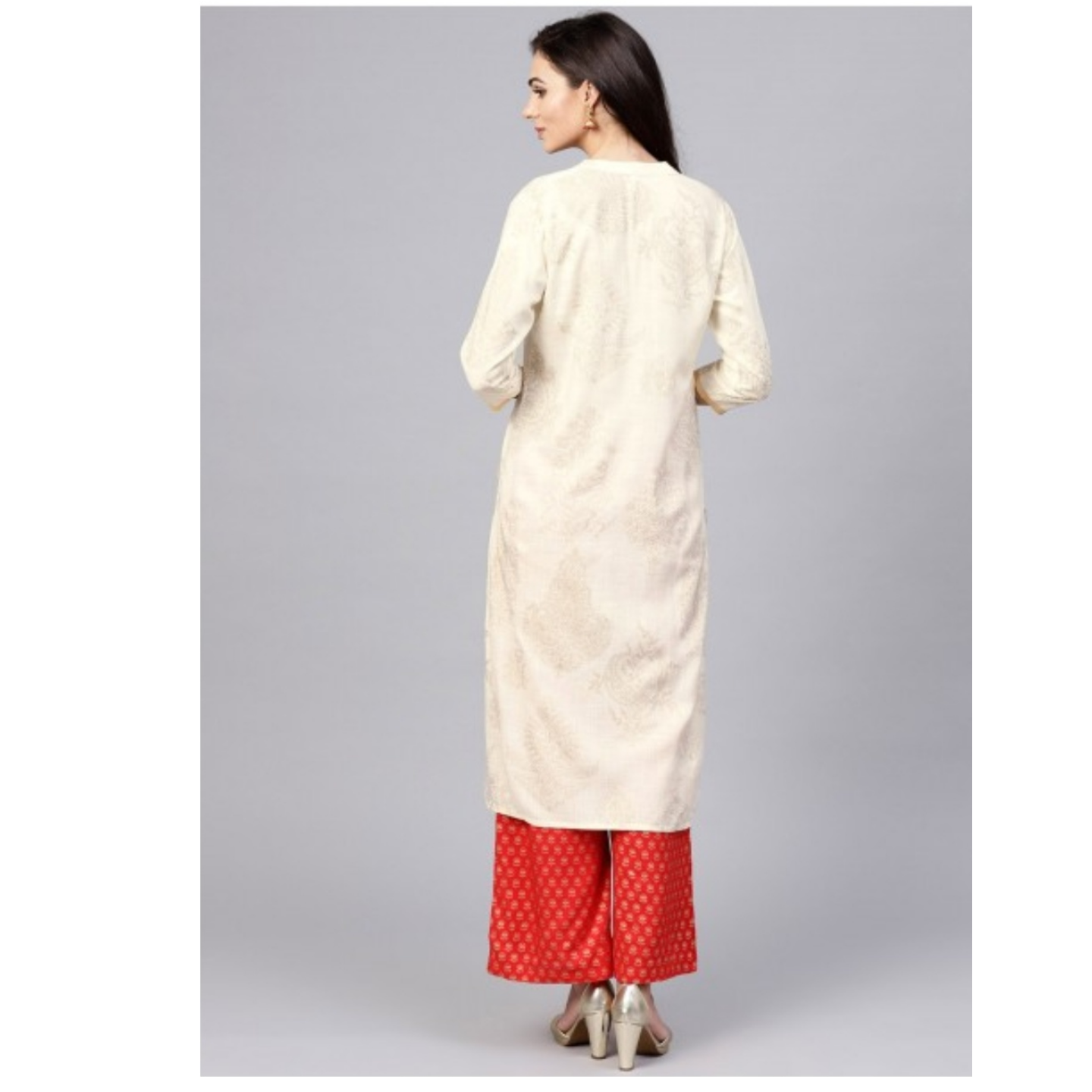 White Gold Printed Straight Kurta