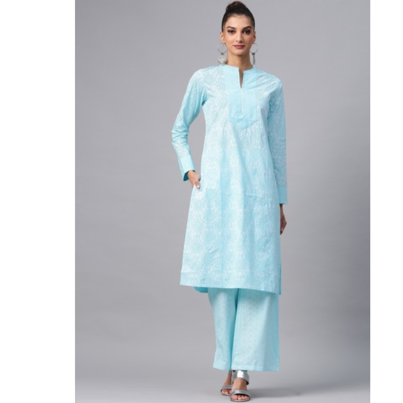 Turquoise Blue Khari Printed Straight Kurta