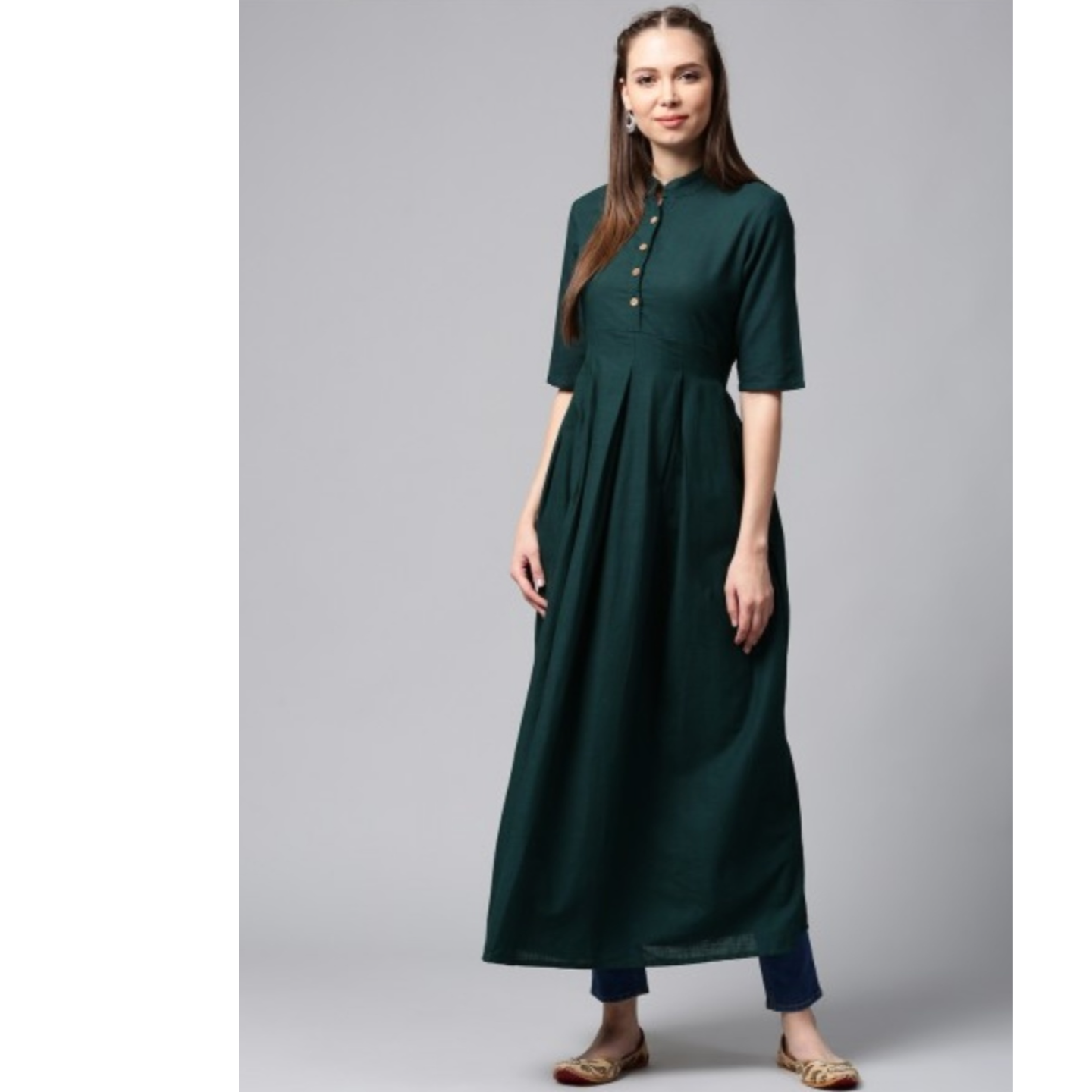 Dark Green Solid Box Pleated Long Kurta