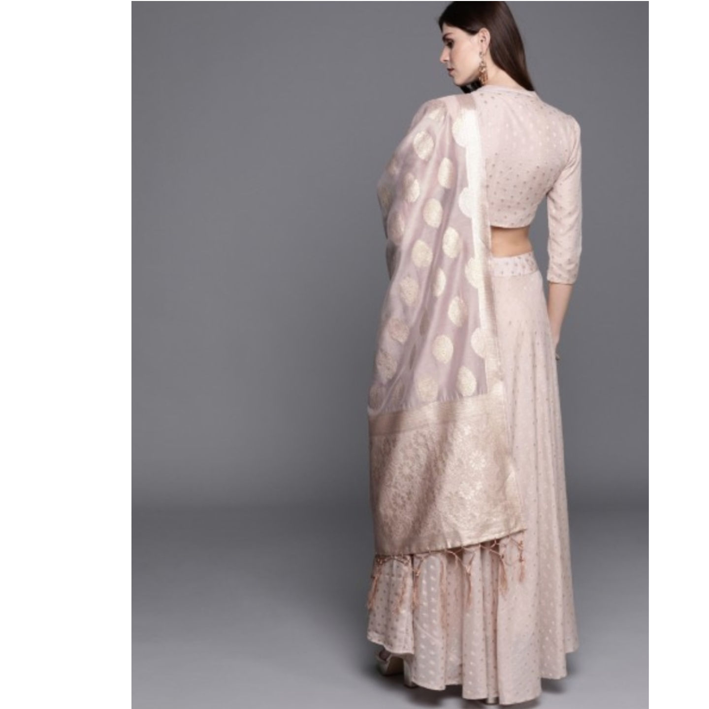 Dusty Pink & Golden Woven Design Ready To Wear Lehenga & Blouse With Dupatta