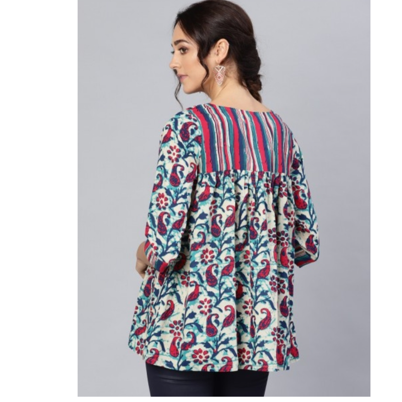 Multicolored Floral Printed Tunic