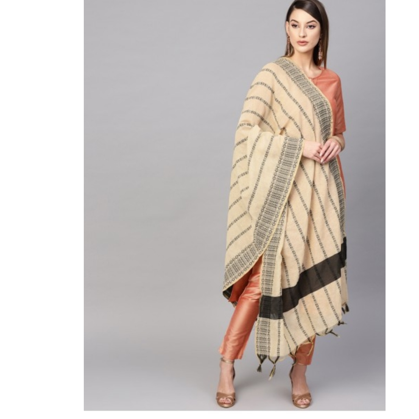 Off White Woven Designed Dupatta