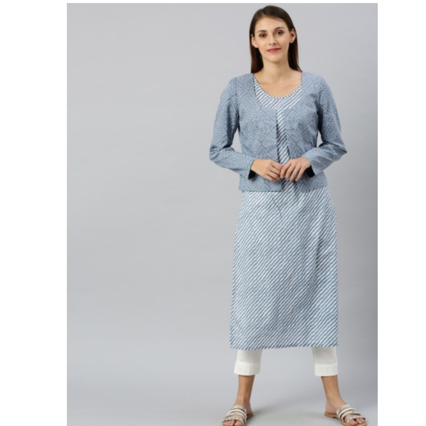 Blue And White Leheriya Printed Kurta With Jacket
