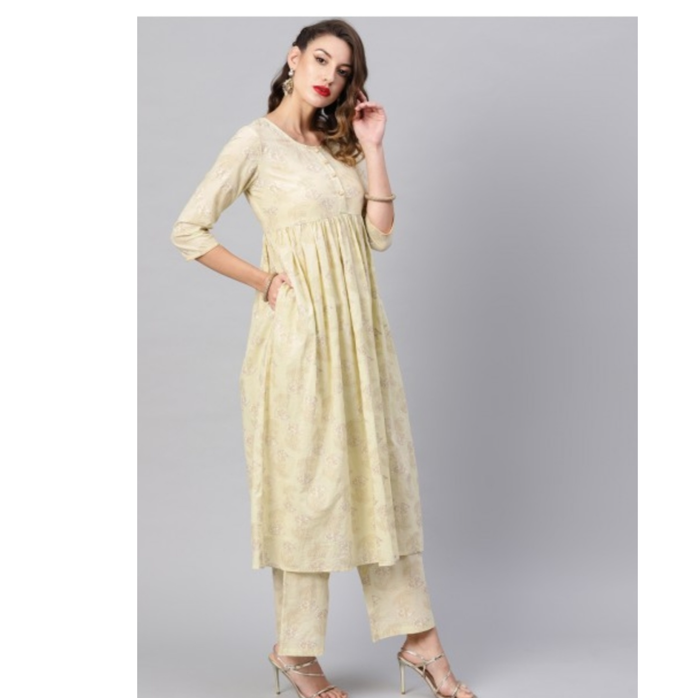 Off White Gold Printed Kurta Set With Palazzo