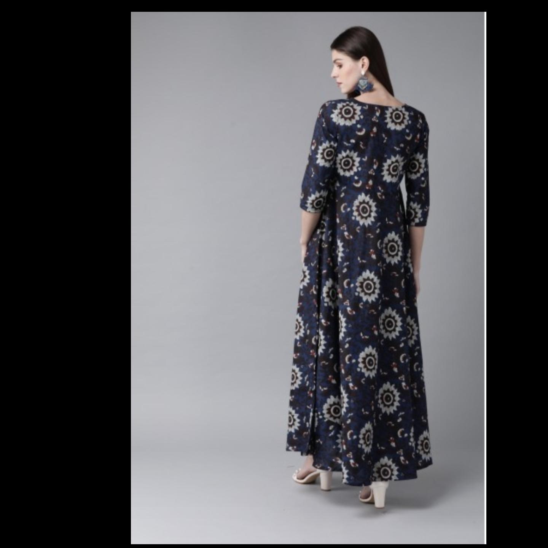 Navy Blue & Grey Printed Maxi Dress