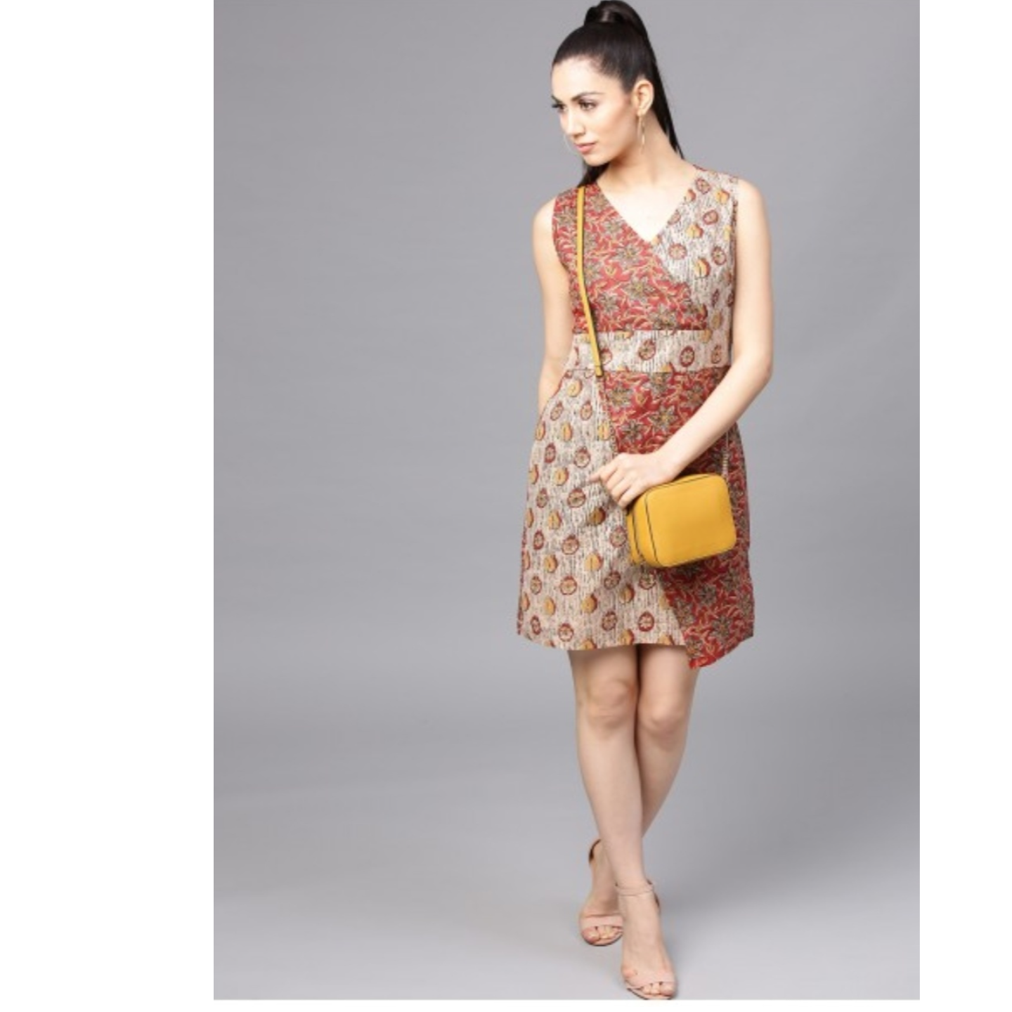 Beige & Maroon Printed Asymmetrical Dress