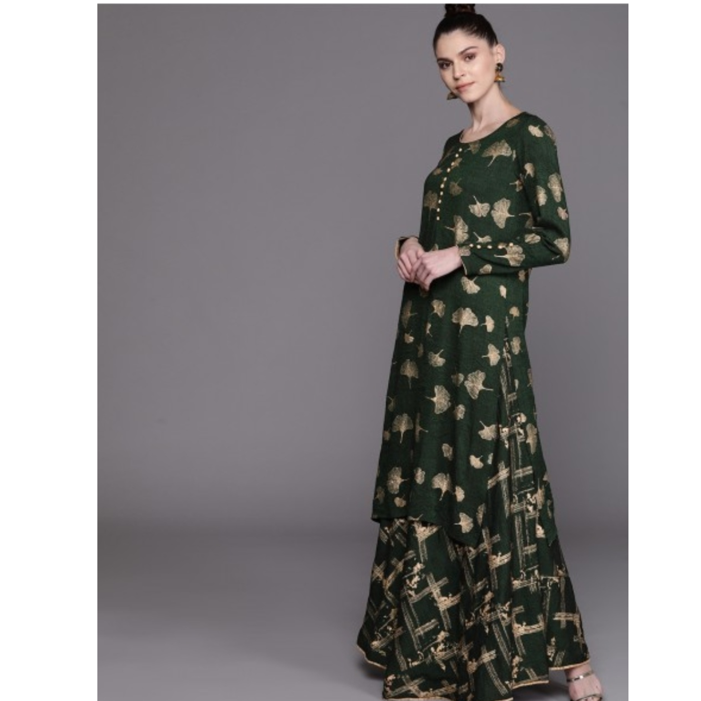 Green & Golden Printed Kurta With Skirt