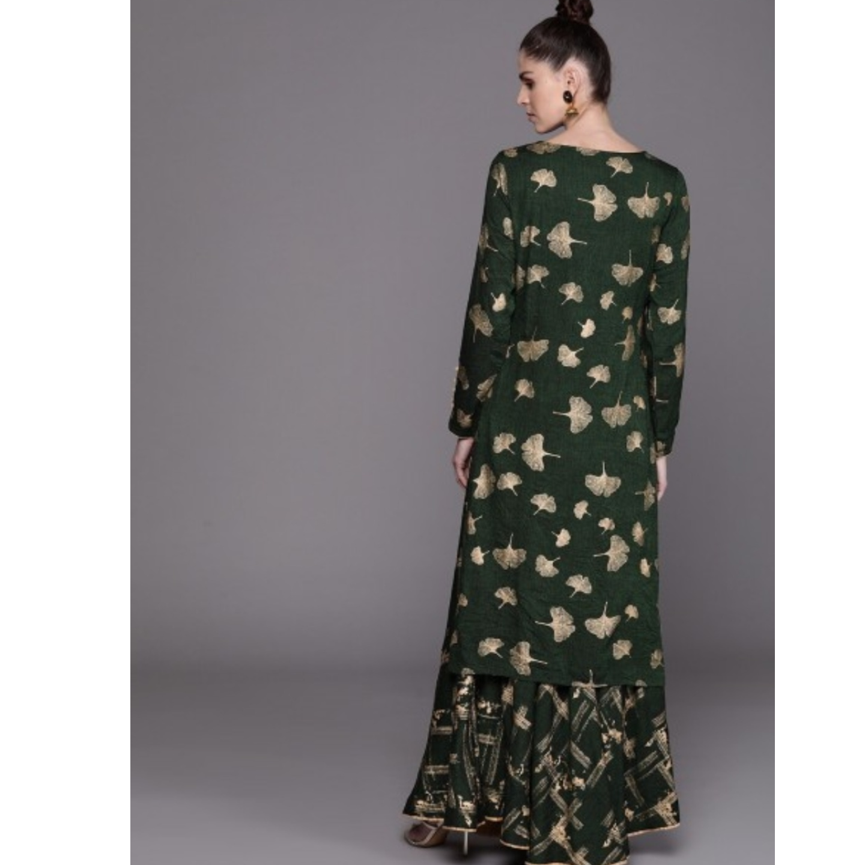 Green & Golden Printed Kurta With Skirt