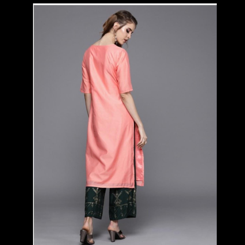 Peach-Coloured Yoke Design Straight Kurta