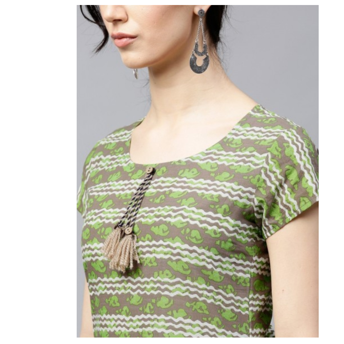 Green Printed A-Line Kurta With Flared Hemline