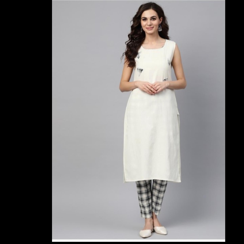 White Embellished Kurta Set