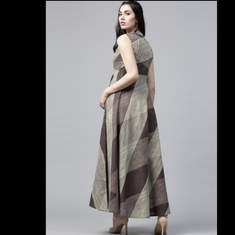 Brown Bohemian Printed Sleeveless Maxi Dress