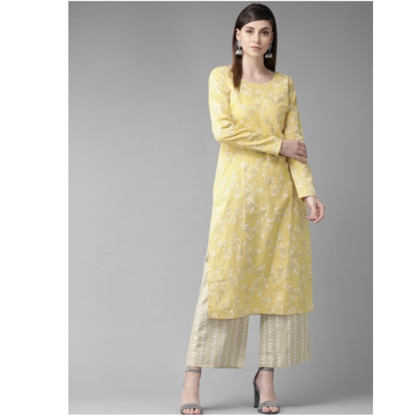 Yellow & White Floral Print Straight Kurta