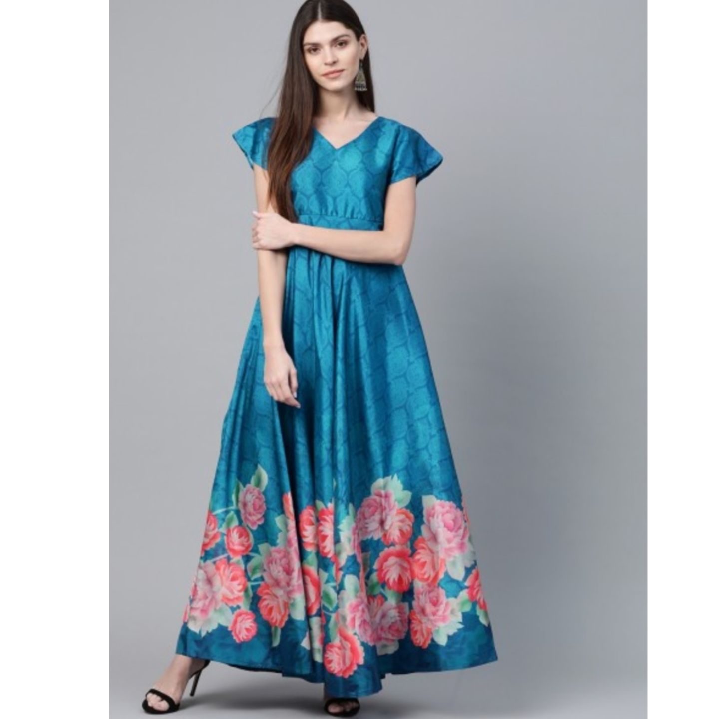 Blue & Pink Floral Digital Printed Maxi Dress
