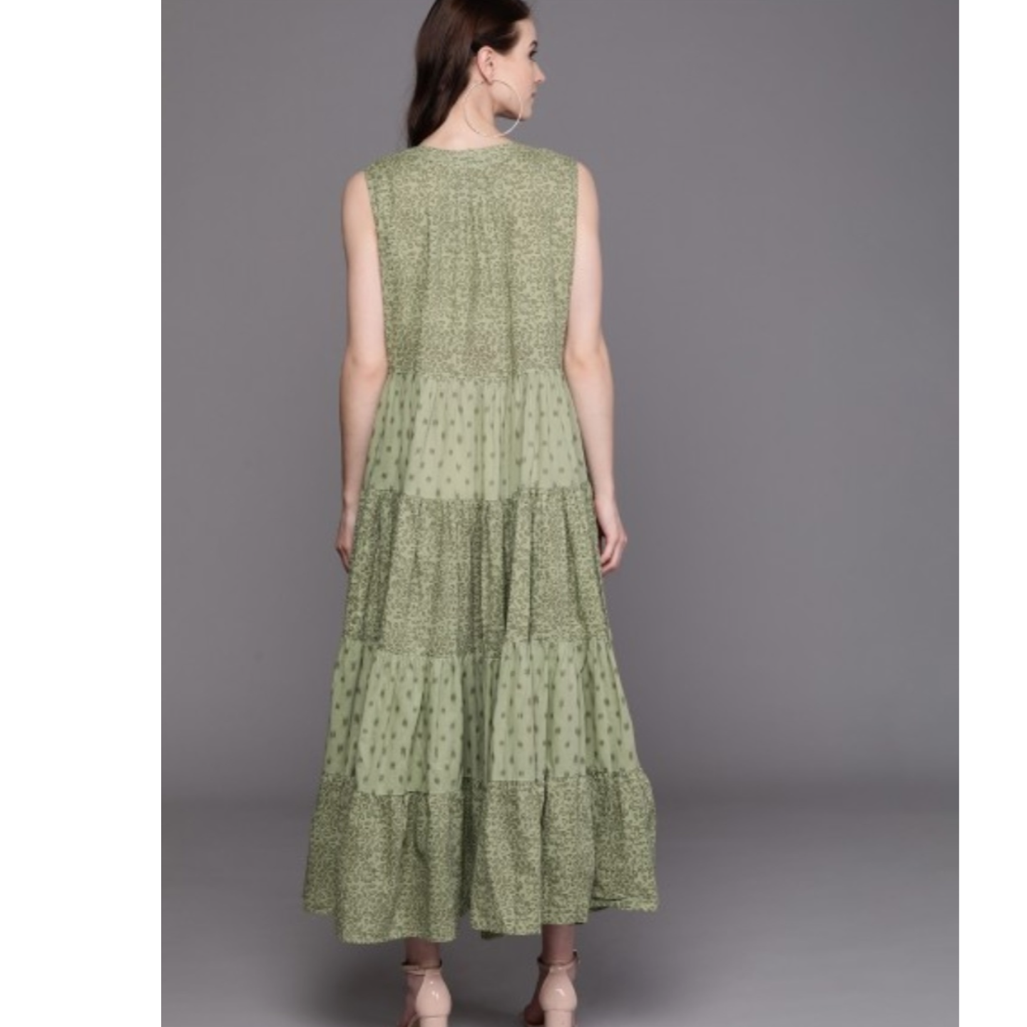 Olive Green Printed Tiered Maxi Dress