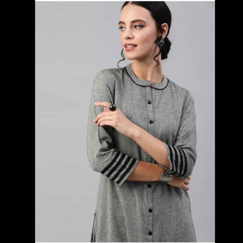 Grey Solid Chambray Straight Kurta