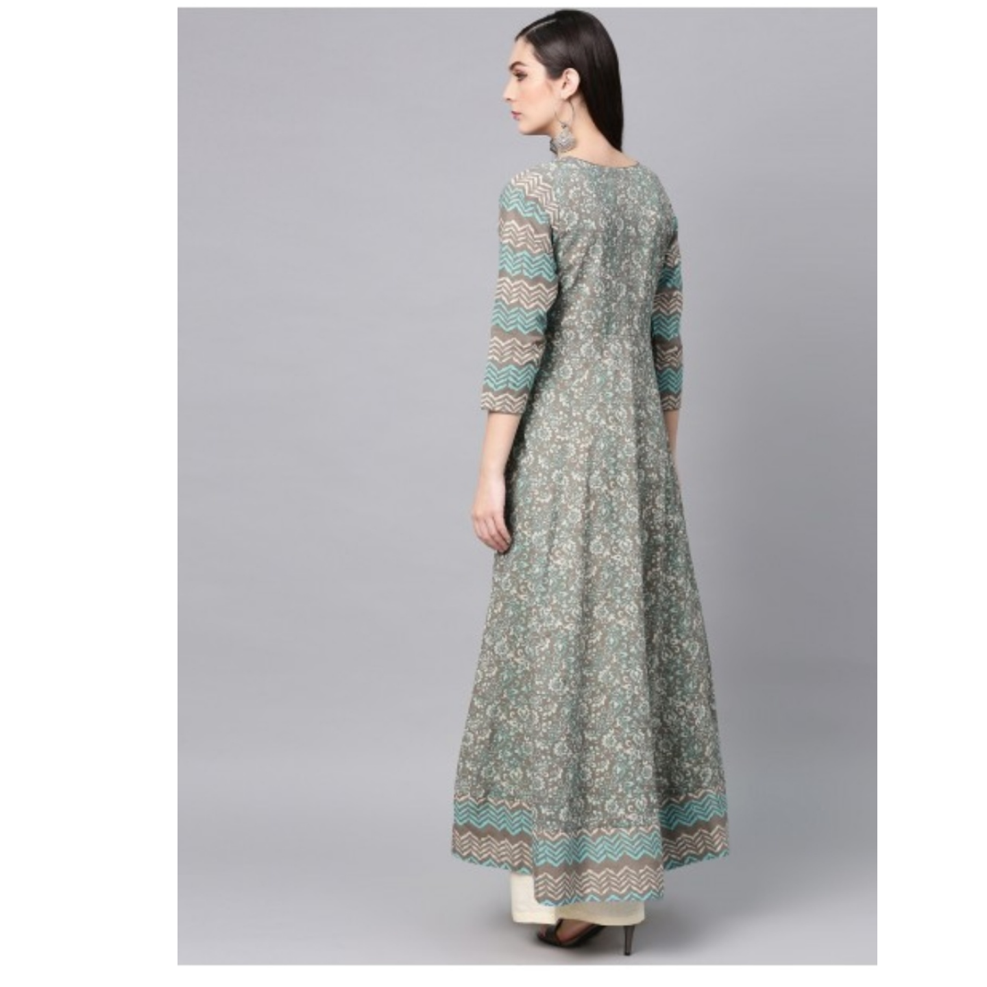 Blue & Grey Floral Printed Flared Anarkali