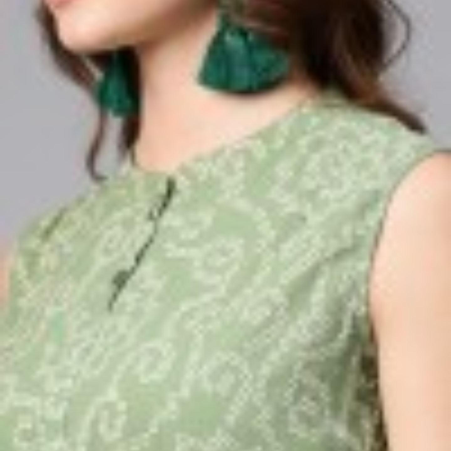Green Bandhani Printed Sleeveless Flared Maxi With Brown Belt