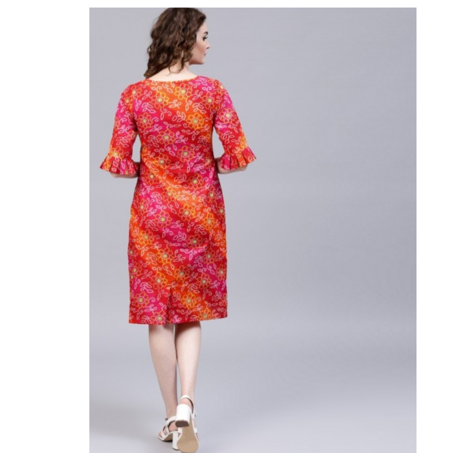 Red & Yellow Bandhani Printed Shift Dress