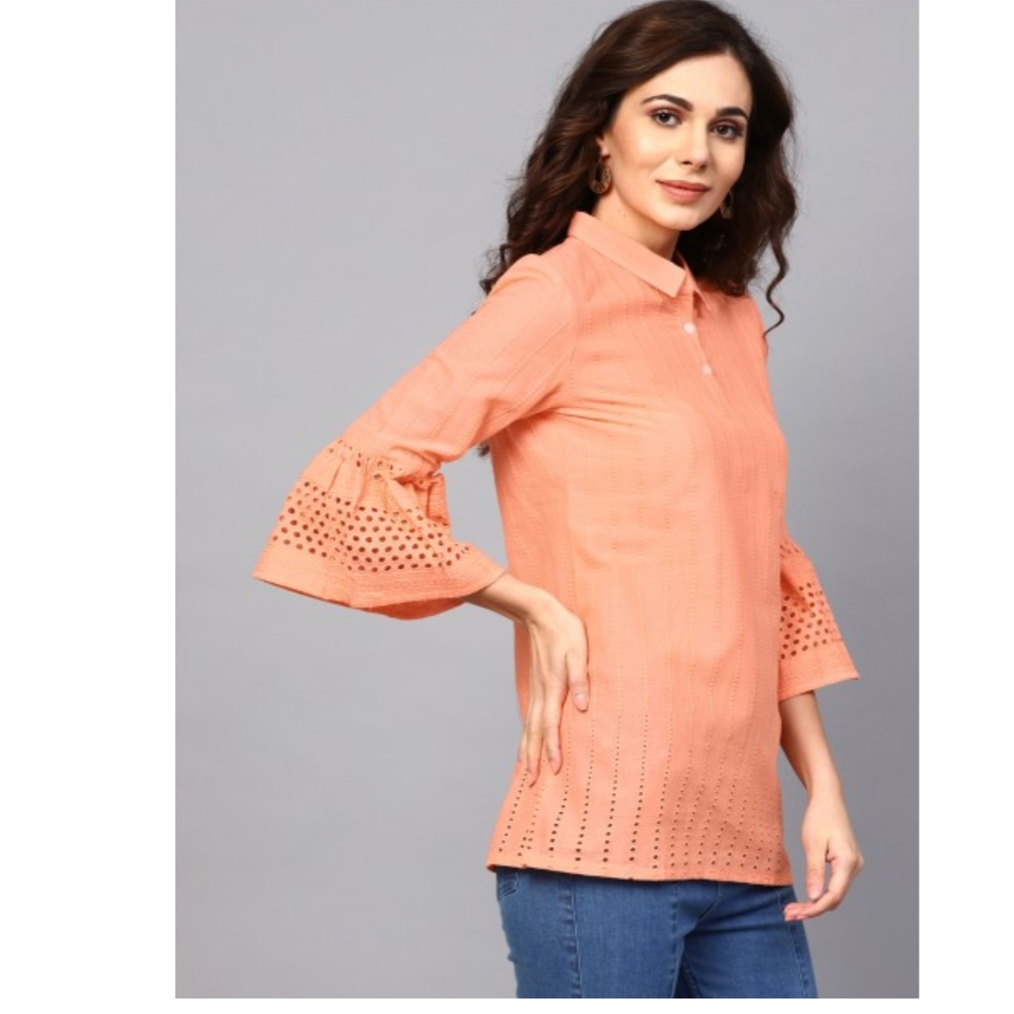 Peach Chikankari Work Tunic With Ruffle Sleeve