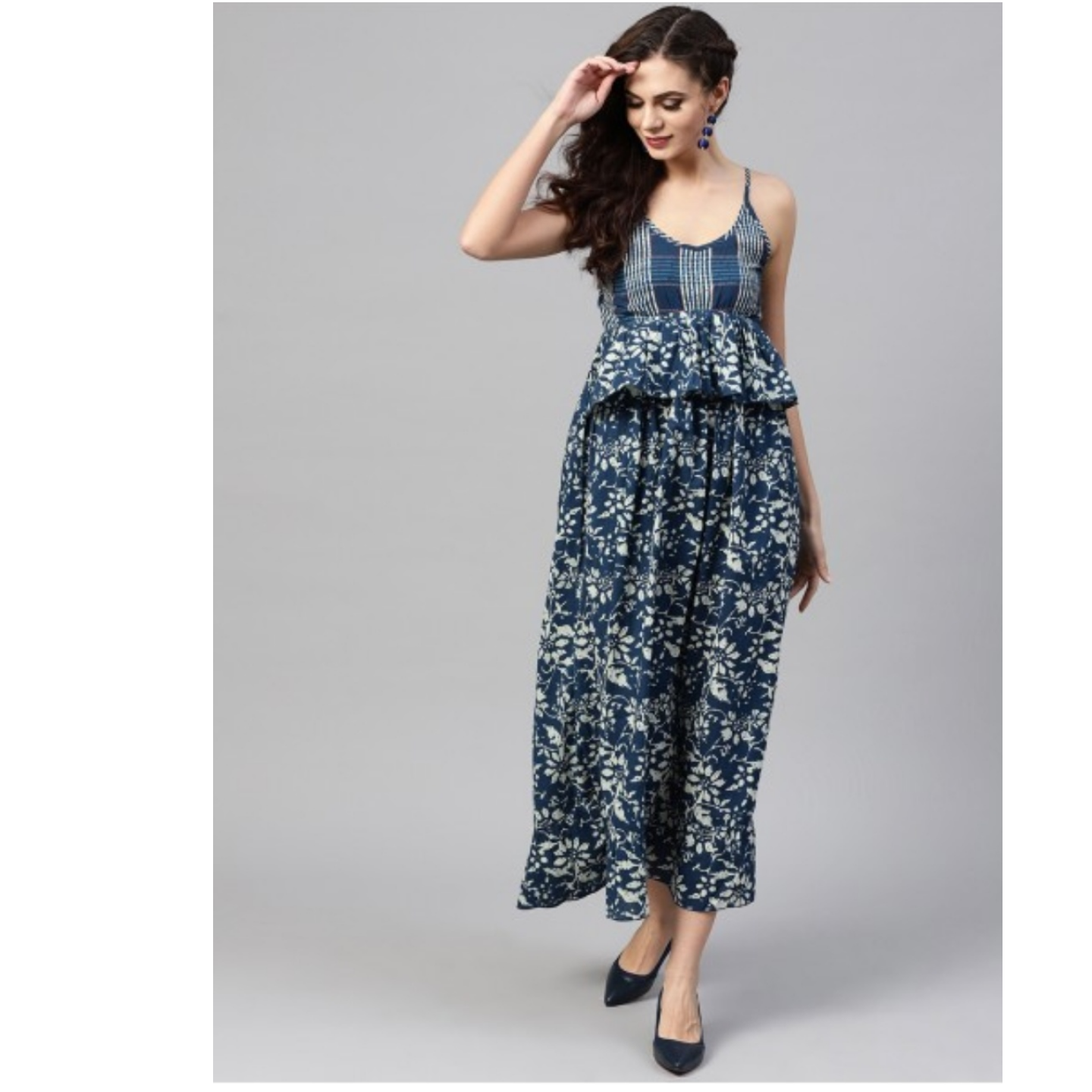 Blue & White Floral Printed Maxi
