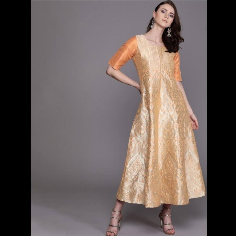 Orange & Golden Woven Design Maxi Dress