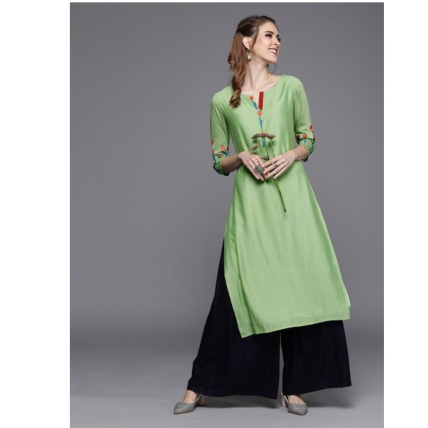 Green Yoke Design Straight Kurta