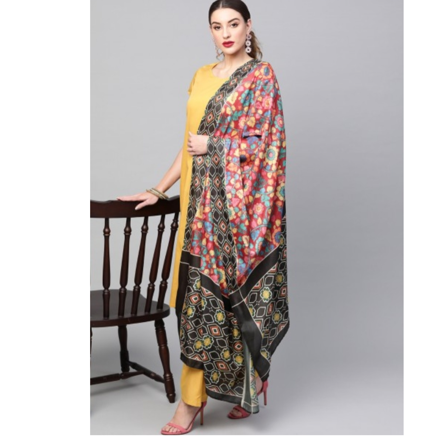 Yellow Solid Kurta Set With Digital Printed Dupatta