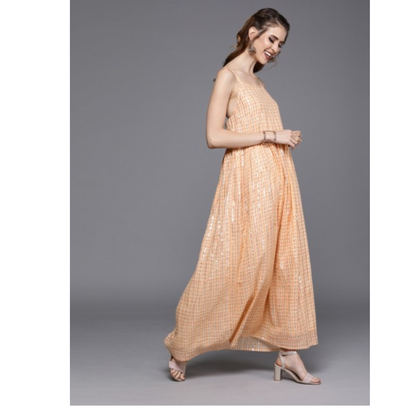 Peach-Coloured Printed Maxi Layered Dress With Gathered Detail
