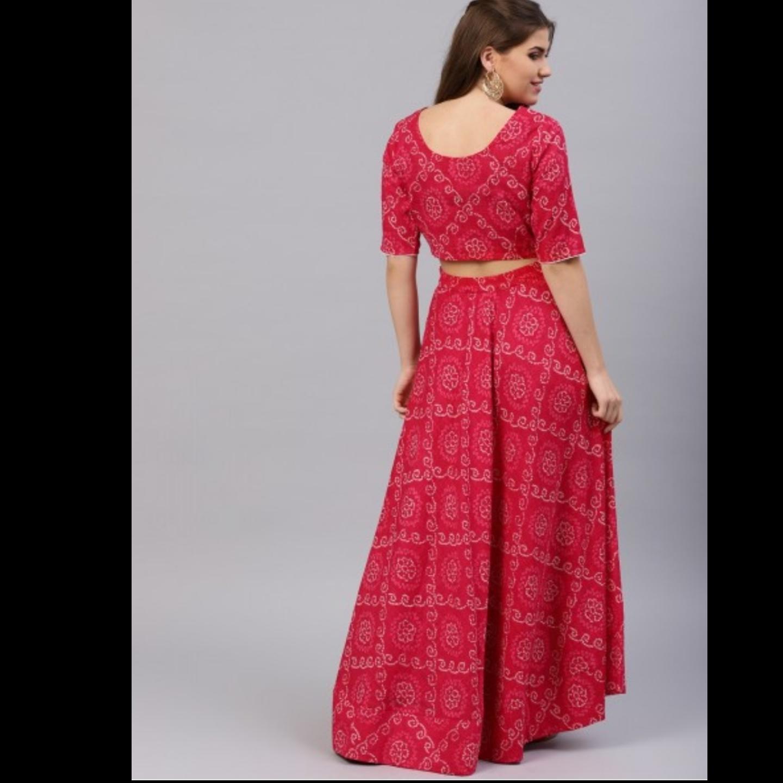 Pink Bandhani Printed Lehenga & Choli