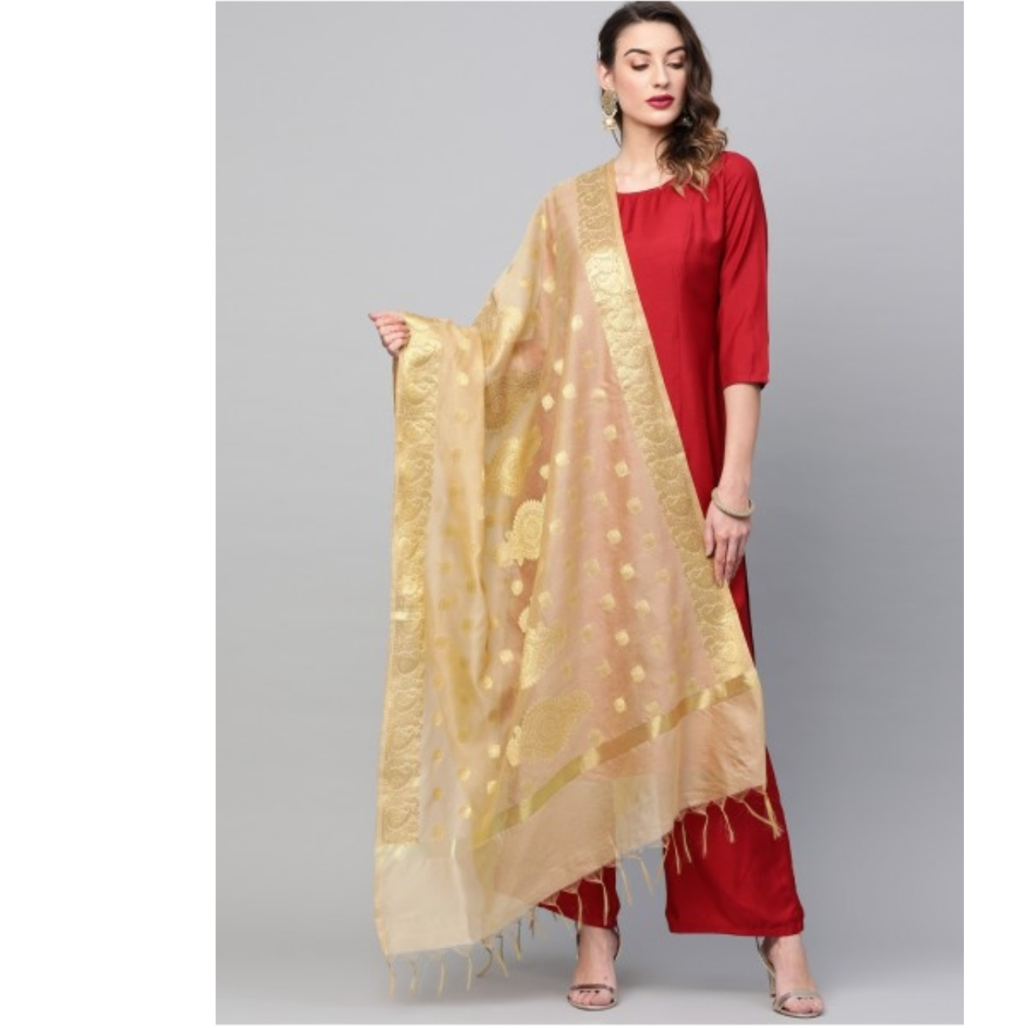 Gold Self Designed Dupatta