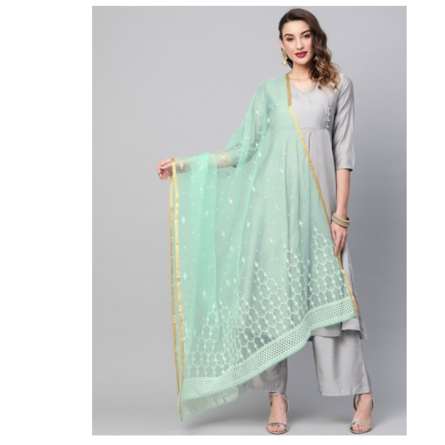 Mint Embellished Dupatta