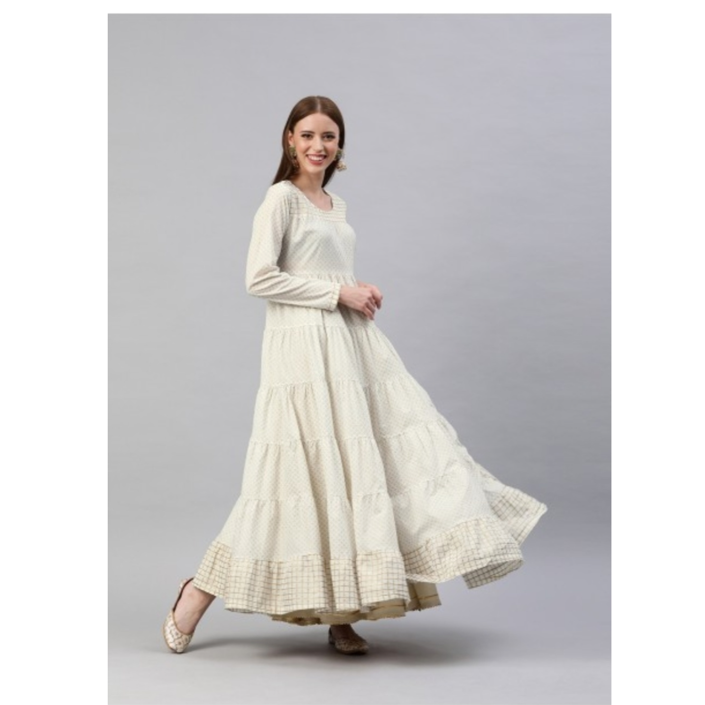 Cream-Coloured & Golden Printed Tiered Anarkali Kurta