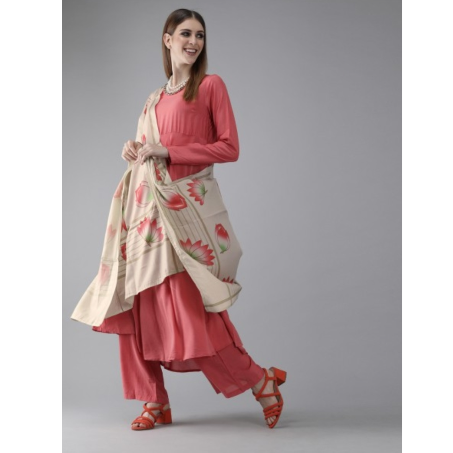 Pink & Beige Solid Kurta With Trousers & Dupatta