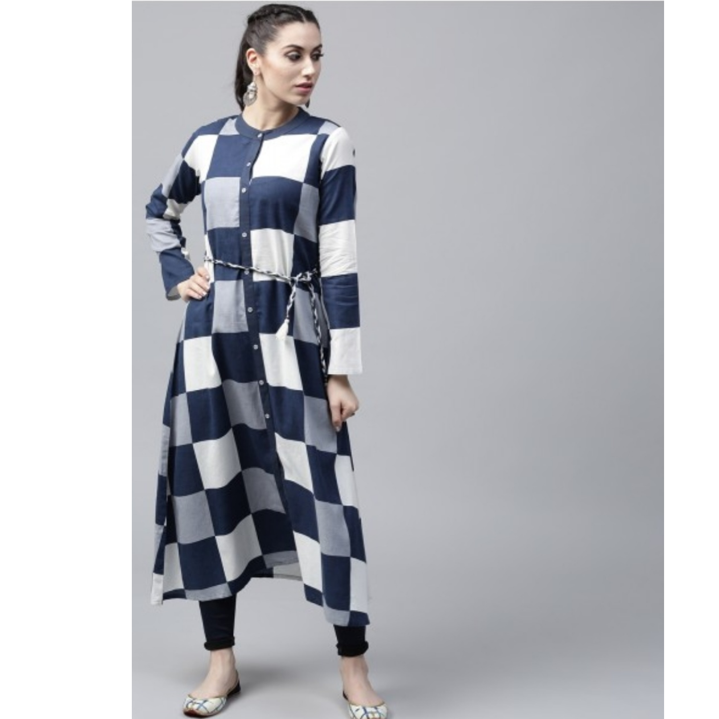 Blue & White Check Printed Button Down Kurta