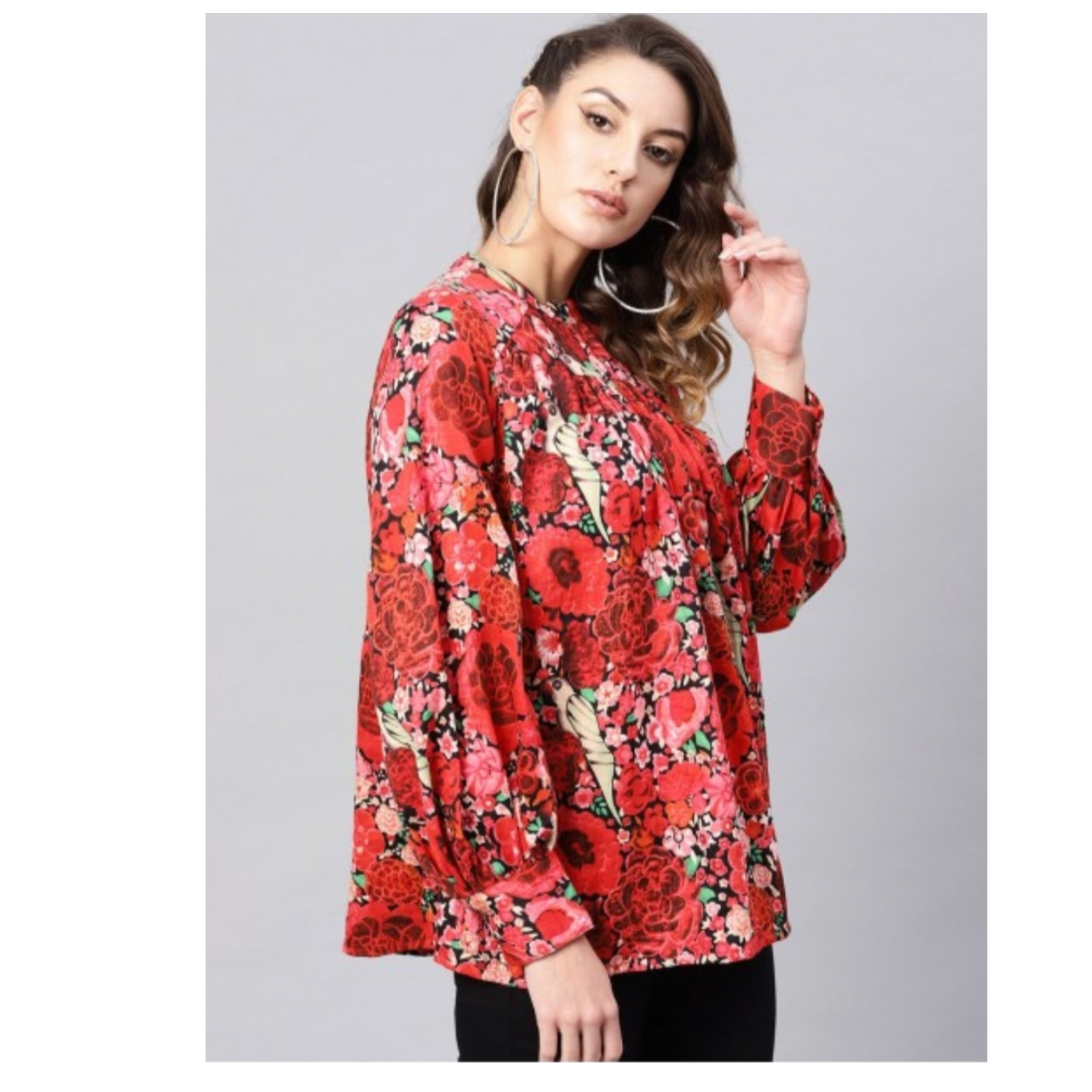 Red Printed Gathered Tunic