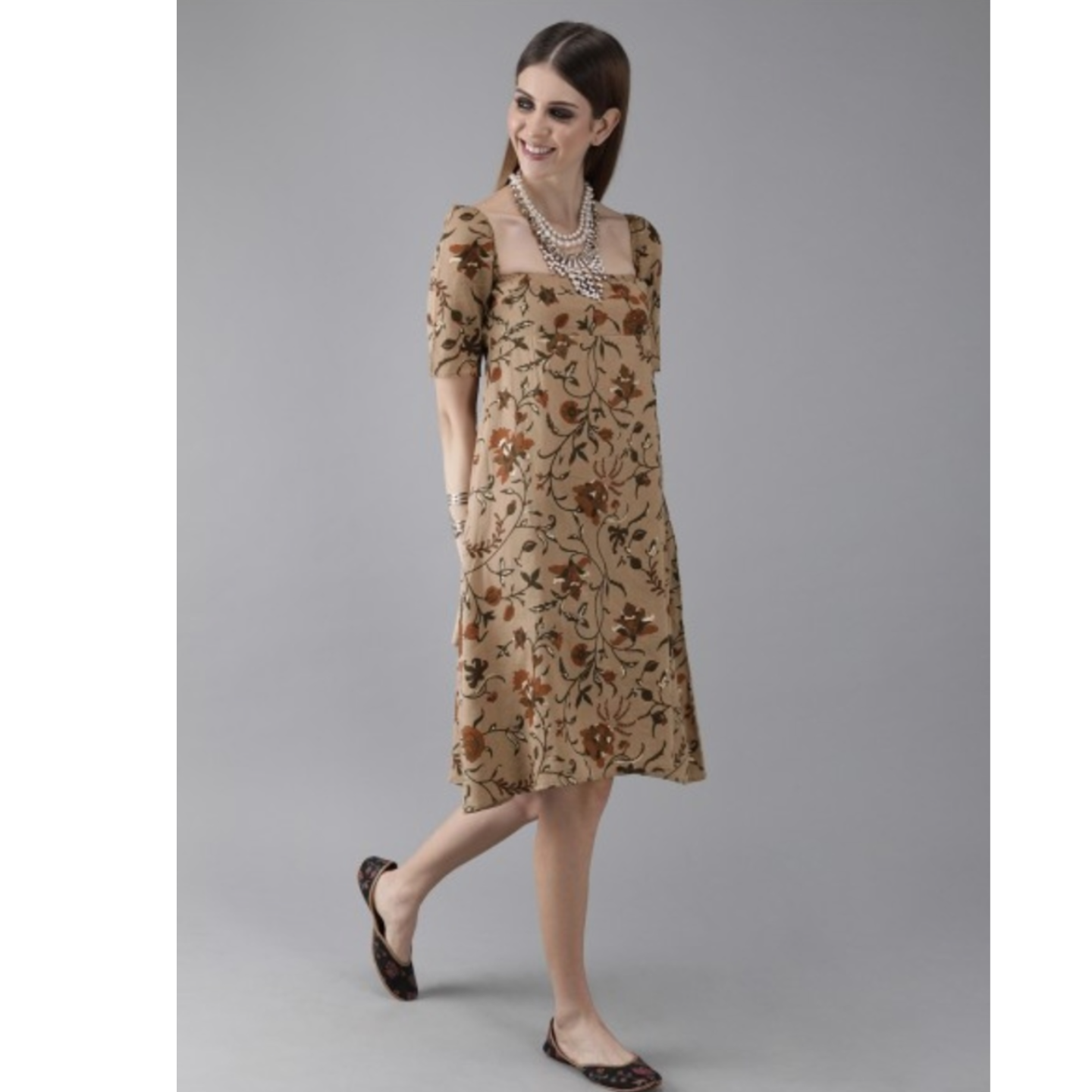 Brown & Green Printed A-Line Dress