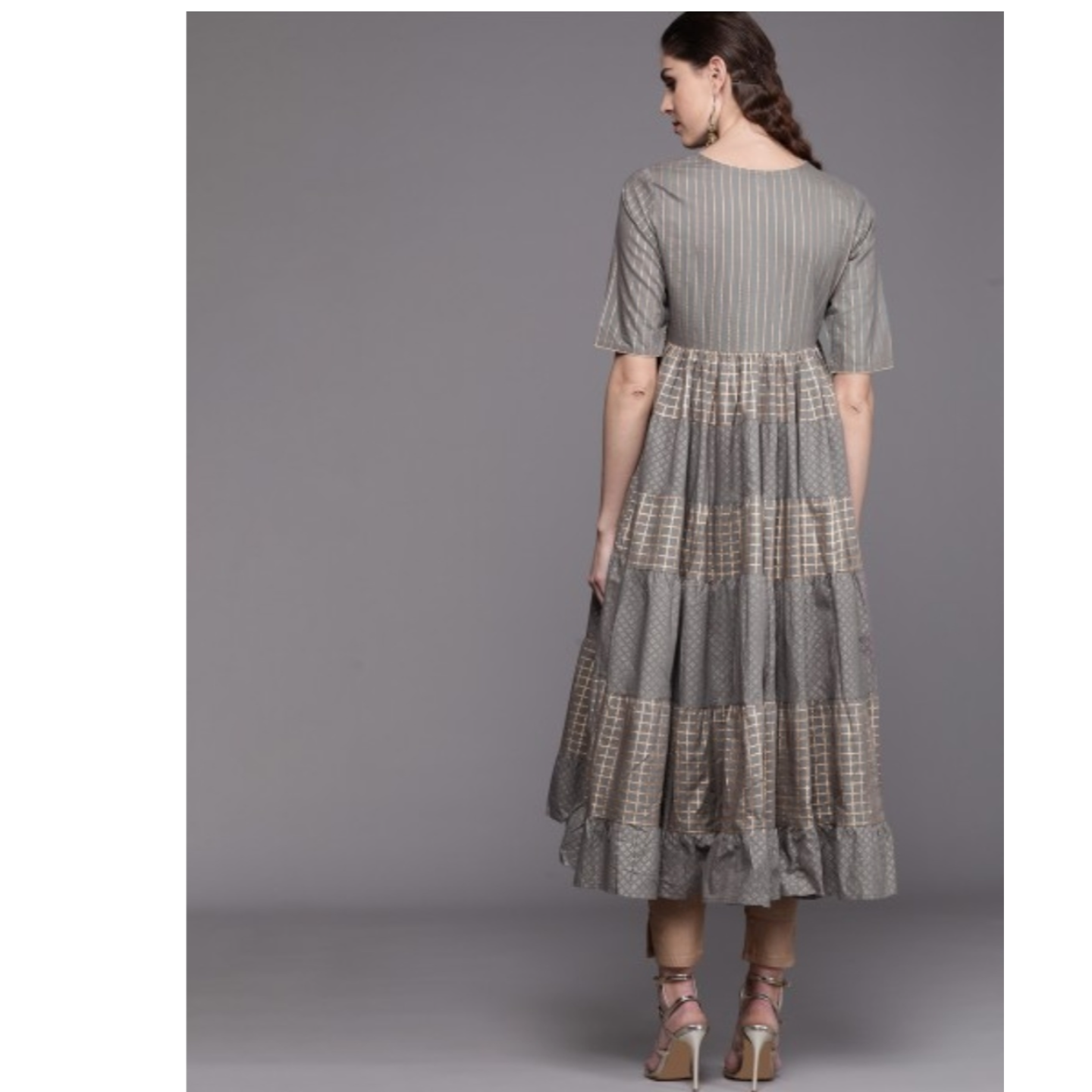 Grey & Golden Printed Tiered Anarkali Kurta