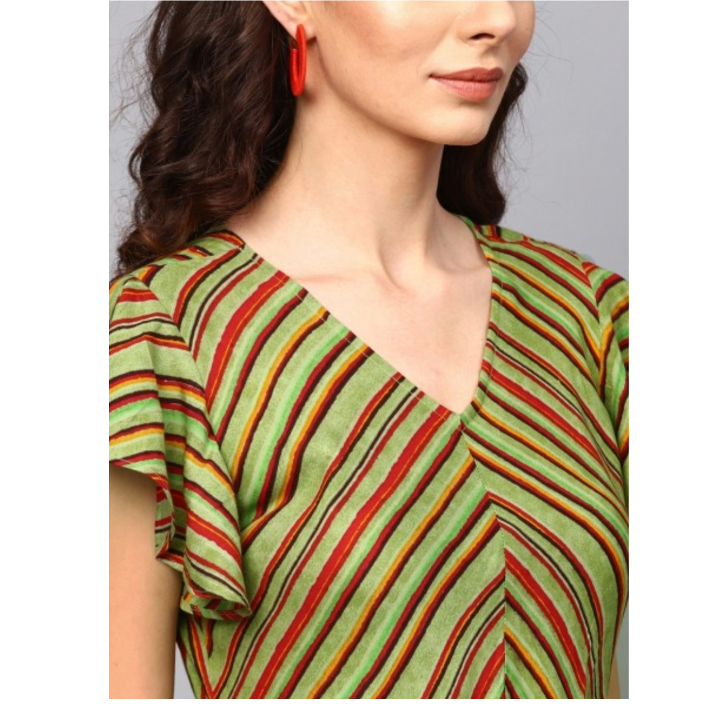 Green & Red Striped Printed Side Slit Maxi