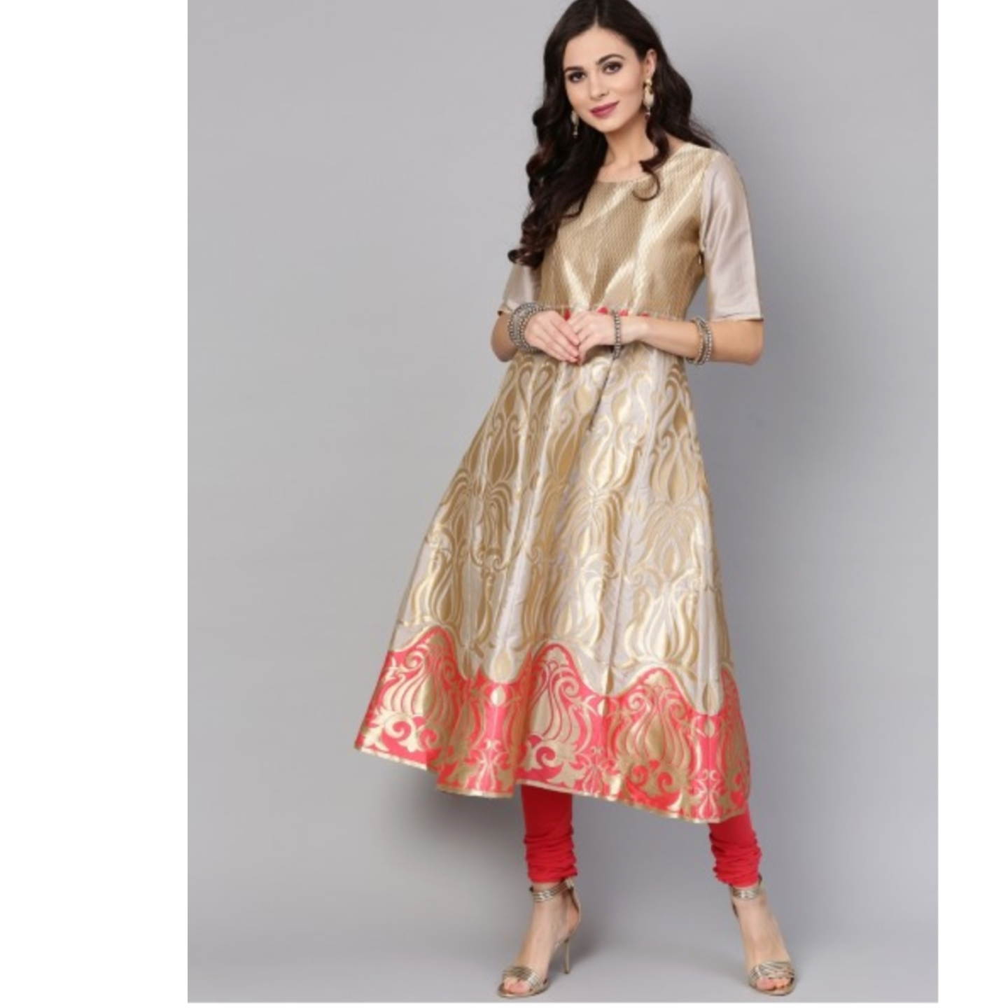 Grey Gold Brocade Design Anarkali With Peach Pant Set