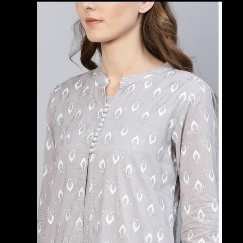 Grey Khari Printed Double Layered Dress