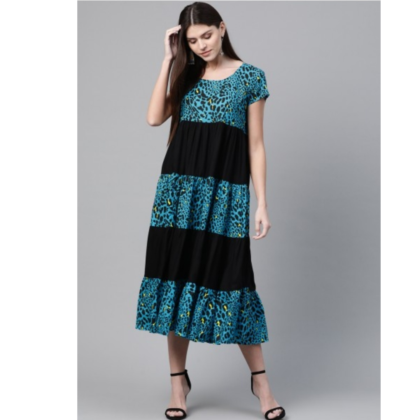 Blue & Black Animal Printed A-Line Tiered Dress