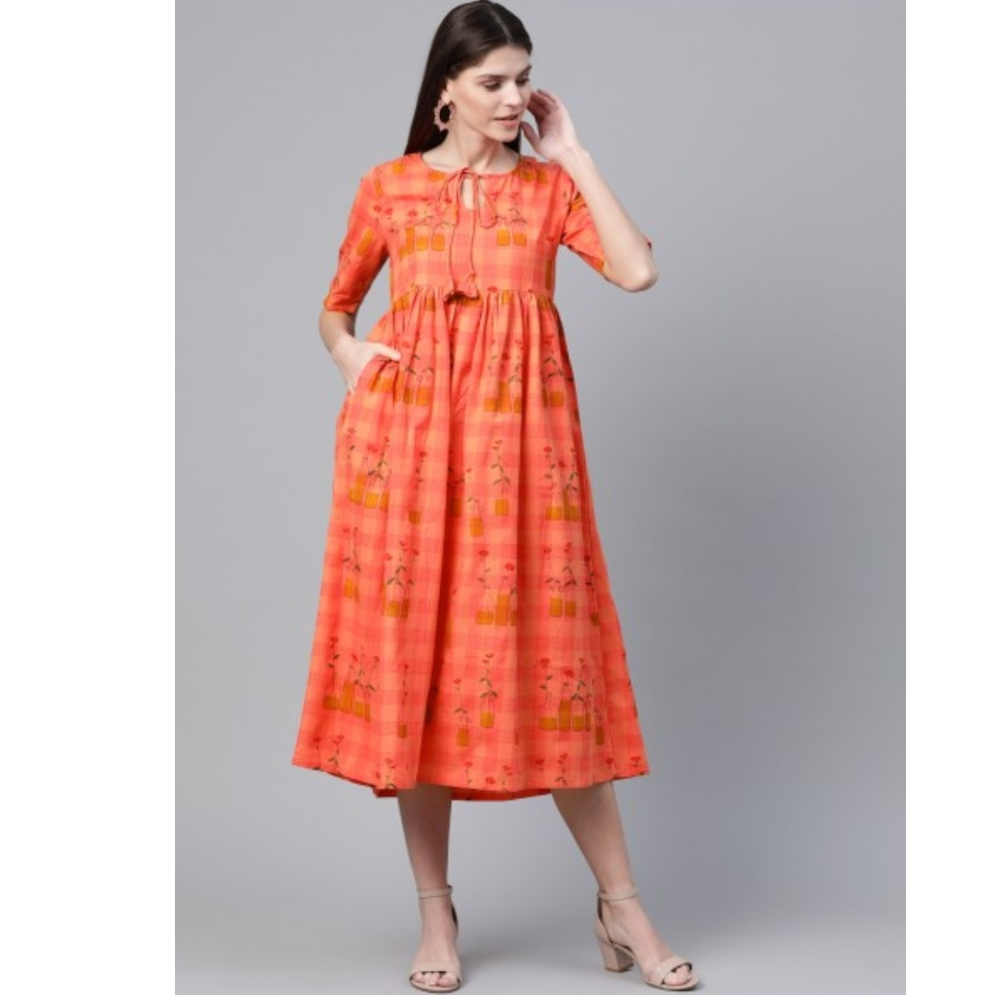 Peach-Coloured Checked With Conversational Printed A-Line Dress