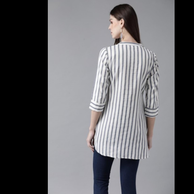 Off-White & Blue Striped Tunic