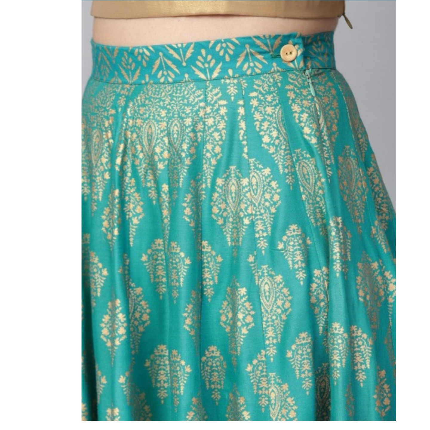 Blue Gold Printed Flared Skirt
