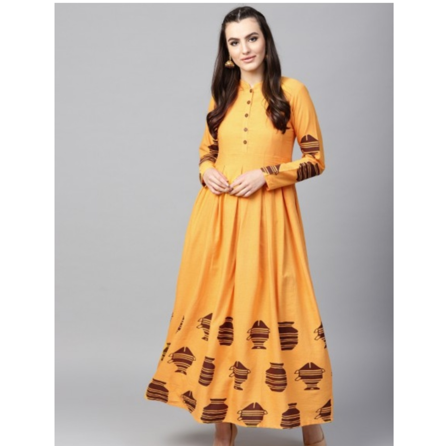 Yellow Placement Printed Flared Anarkali