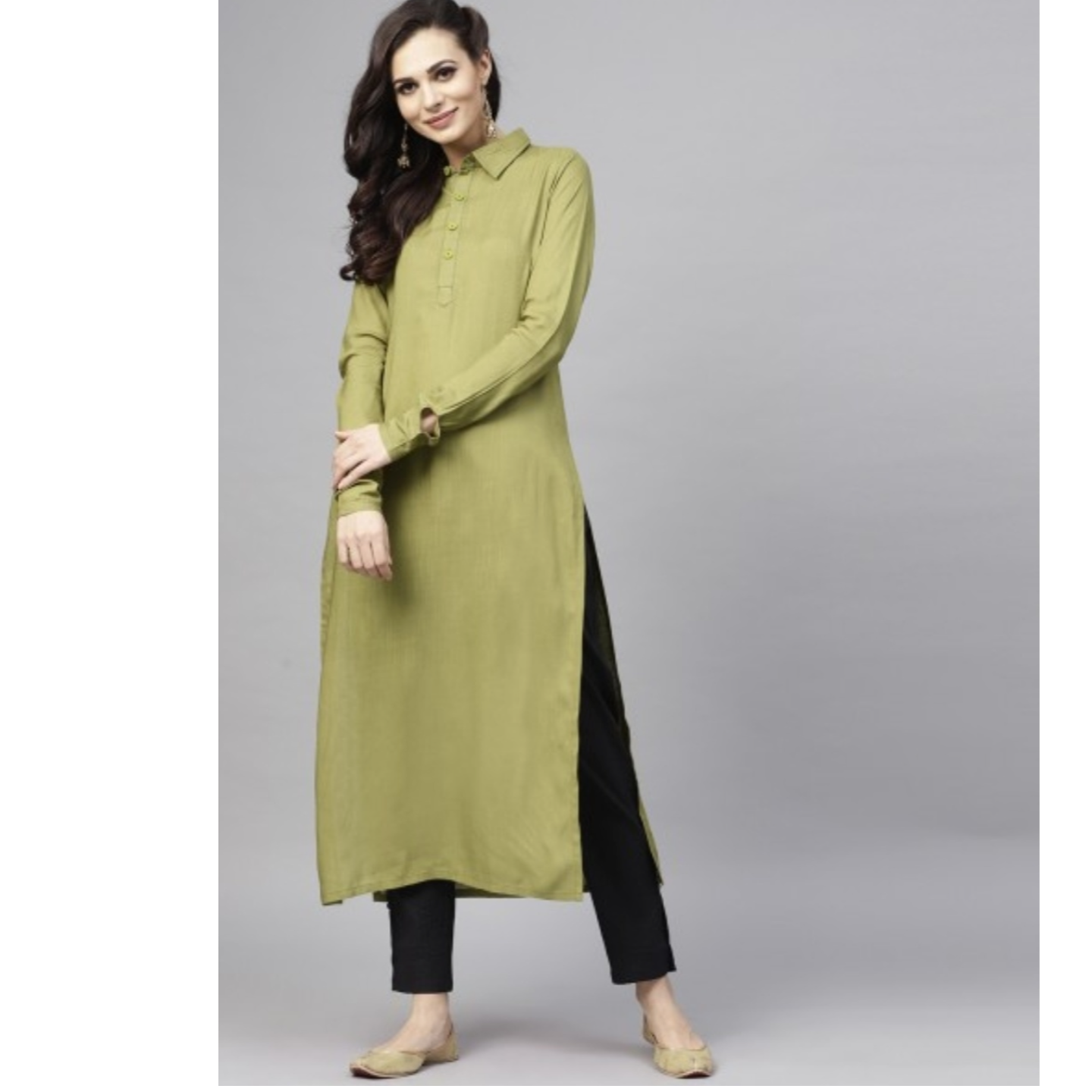 Olive Solid Straight Kurta With Full Sleeve